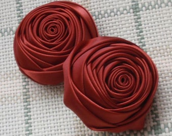 2 Handmade Rolled Roses (2 inches) in Cinnabar MY-012 -013 Ready To Ship