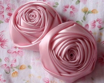 2 Handmade Rolled Ribbon Roses (2 inches) in Rose Pink MY-012 -020 Ready To Ship