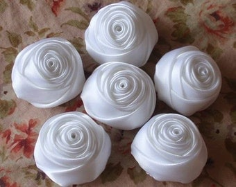 6 Handmade Ribbon Rolled Roses (1-1/4 inches) in White MY-014 -05 Ready To Ship