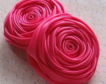 2 Handmade Ribbon Rolled Roses (2.5 inches) in Shocking Pink MY-015 - 31 Ready To Ship