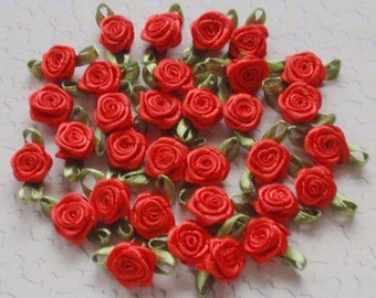 30 Mini Handmade Ribbon Roses (1/2 inches) In Red MY-021 - 02 - Ready to ship