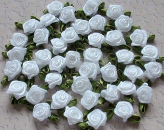 30 Mini Handmade Ribbon Roses (1/2 inches) In White MY-021 - 04Ready To Ship