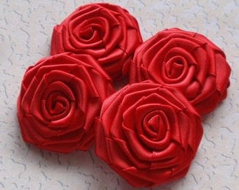 4 Handmade Roses (2 inches) In Red MY-004 -40 Ready To Ship