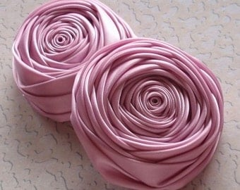 2 Handmade Rolled Roses (2-3/4 inches) in Tulip  MY-016 - 15 Ready To Ship