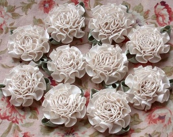 10 Handmade Flowers With Leaves (1-1/4 inches) In Cream MY-021 -128 Ready To Ship