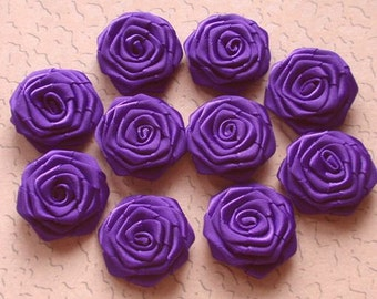 10 Handmade Ribbon Roses (1-1/4 inches) In Regal Purple  MY-022 - 89 Ready To Ship