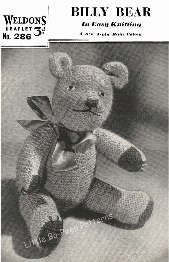 Vintage Toy Teddy Bear Knitting Pattern PDF