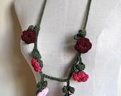 Wedding Crochet Necklace / Bridesmaid Crochet Pink Jewelry / Summer Fashion Crochet Necklace