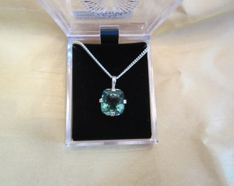 12.35 carat Cushion Green Amethyst Pendant