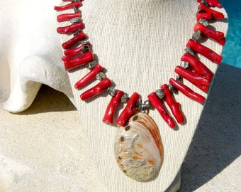 Red Coral Necklace with Red Abalone Seashell