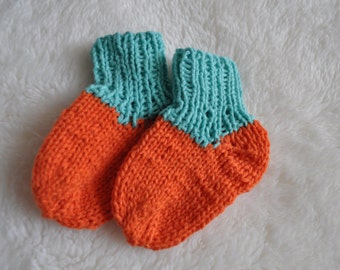 Baby Socks in Orange and Turquoise