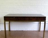 Tomlinson Furniture burlwood and brass base desk