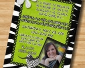Lime Green Zebra Print Tween Teen Birthday Party Invitation Invite