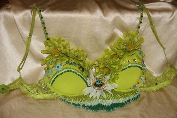 Custom Hand Beaded Lime Green Daisy Bra :)