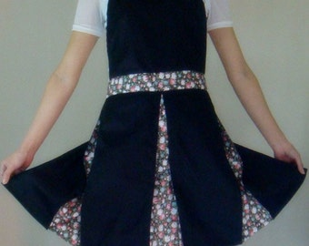 Beautiful Handmade full apron dress black for kitchen cooking