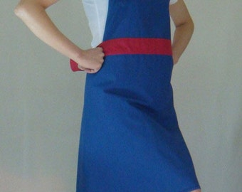 Beautiful Handmade full apron dress  for kitchen cooking  blue  Accessories