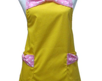 Beautiful Handmade full apron dress  for kitchen cooking small bowknot yellow Accessories