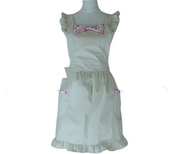 Beautiful Handmade full apron dress  for kitchen cooking bowknot Accessories