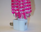 Beaded Night Light Shade - Pink/Clear
