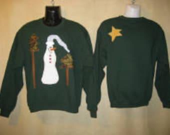 Women's Appliqued Sweatshirt - Jack Frost Shirt  - Many Womens Sizes