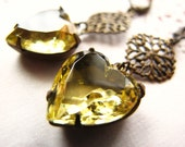 Jonquil Yellow Heart Rhinestone Dangle Earrings, Filigree Estate Style Old Hollywood Glam Glass Jewels