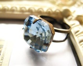Light Sapphire Blue Square Rhinestone Cocktail Ring, Adjustable Band, Estate Style Old Hollywood
