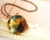 Vintage Mermaid Locket Necklace, Brass Art Photo Image Pendant, Large Round Golden Jewelry