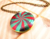 Pinwheel Locket Necklace, Colorful Vibrant Image Photo Pendant, Round Brass Jewelry