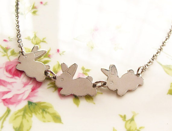 Silver Bunnies Charm Necklace, Trio Three Adorable Rabbits, Short Chain Jewellery