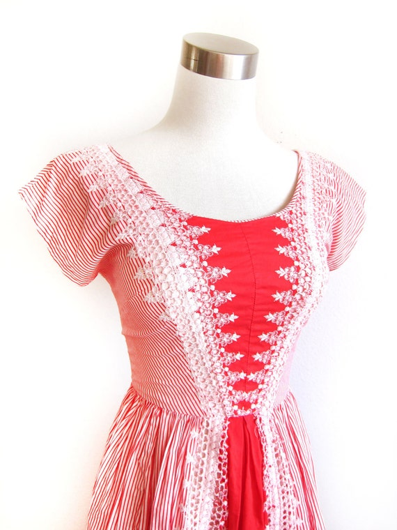 On Hold for Blossom - Beautiful 1950s Vintage Red & White Striped Embroidered Eyelet Garden Party Dress - Extra Small XS