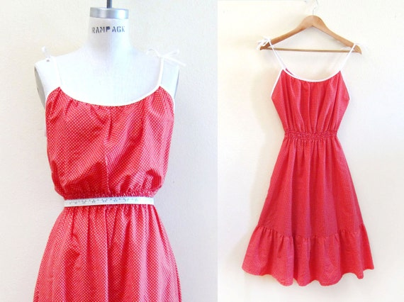 Vintage 1970s Swiss Dot Long Maxi Smocked Tie Shoulder Babydoll Cover Up Dress in Lipstick Red