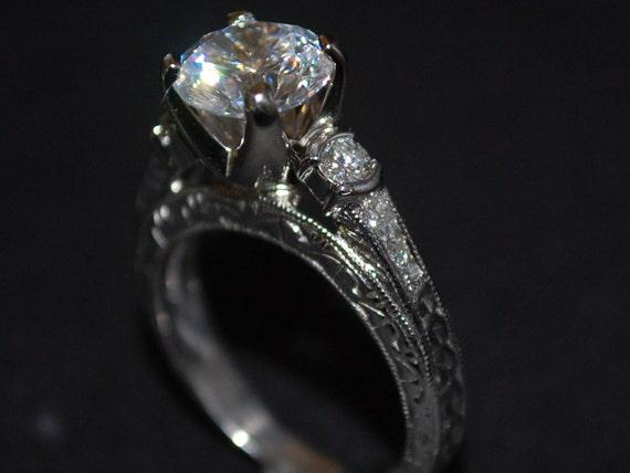 Platinum 950 Vintage Diamond Engagement Ring