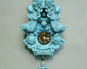 Faethm Cuckoo Clock wall clock art sculpture Turquoise Robins Egg Blue by Marisol Spoon