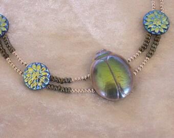 Scarab necklace  & earrings.