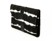 Oversized Black Leather Wallet Hand Dyed