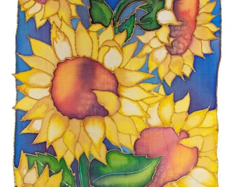 Cheery yellow sunflowers painted on silk