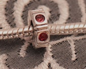 Pink Cubic Zirconium (CZ) Spacer Charm / Bead Marked .925 Sterling Silver for European Style Bracelets