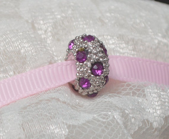 Pink Rhinestone Bead for European Style Bracelets Silvertone Sparkly Bling Bling
