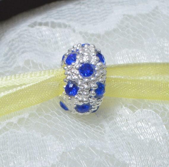 Royal Blue Rhinestones in a Silvertone bead for European Bracelets Threaded Core