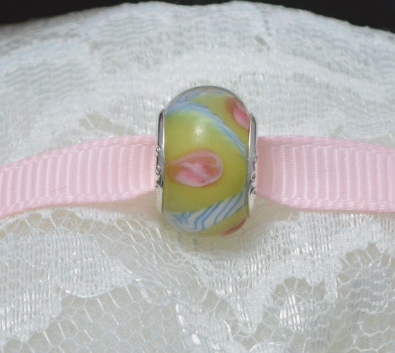 Green and Pink Murano Glass Bead