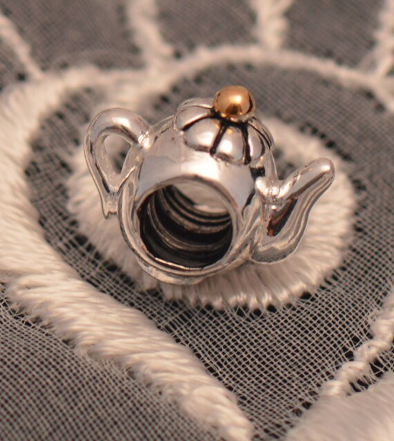 Teapot Threaded Charm / Bead .925 Sterling Silver with Gold Accent on Lid for European Style Bracelets