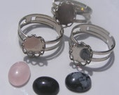 DIY Gemstone Ring Kit - Make 3 Rings. Ships from the US. International Shipping.
