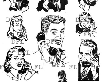 Digital delivered vintage image Retro style women and men on phone