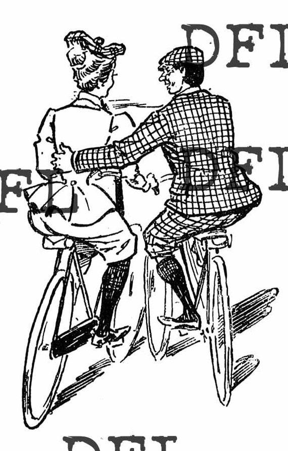 Instant Digital delivered vintage image Vintage Biking couple