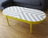 Bespoke Hand Painted Upcycled Geometric Chevron Oval Wood Coffee Table