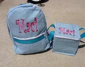 Monogrammed Toddler Backpack & Matching Lunchbox / Snack Square Set
