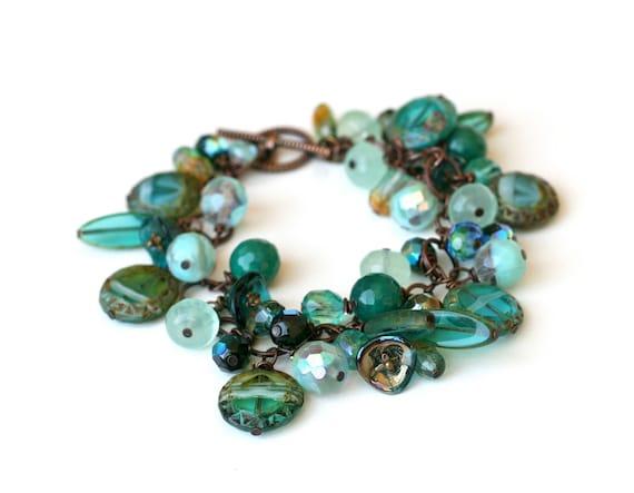 Bracelet  Agate, Amazonite, Czech Glass Beads of Varying Colors/Shapes, Chunky Bracelet, Gift for Her, Under 30 Dollars