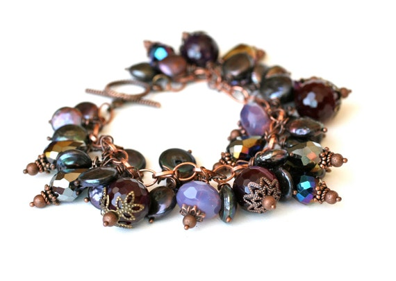 """Bracelet """"Midnight in Paris"""" Czech Glass Beads in Purples, Peacock Freshwater Coin Pearls, Gift for Her, Under 30 Dollars"""