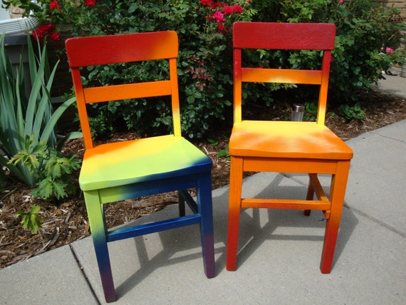"""Hand-painted OOAK Upcycled Vintage OAK Old School Children's Chair """"Color My World"""" in a beautiful tie dye style rainbow of color"""