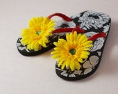 Flip Flops- White and Black Print Sole, Yellow Flower, Green Gem